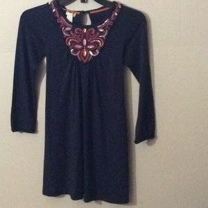 NWT Monsoon, Blue L/S & embroidery dress # 9/10 Yr